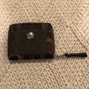 Dark Green suede accented zip wallet